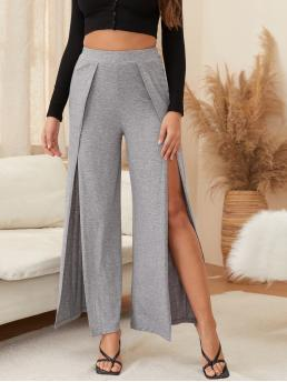Grey High Waist Wrap Wide Leg High-rise Front Slit Wide-leg Pants Beautiful