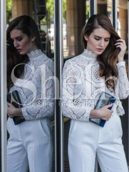 Clearance Long Sleeve Shirt Sheer Lace Guipure Scallop Top