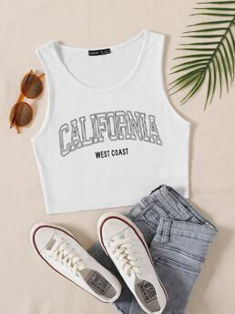Tank Rib-knit Polyester Letter Graphic Top on Sale