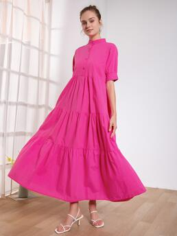 Trending now Hot Pink Plain Button Front Stand Collar Button up Dress