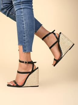 Shopping Black Wedge Sandals Wedges Open Toe Two Tone Strappy Platform Espadrille