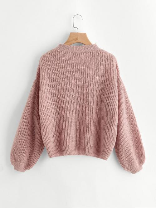 Casual Plain Pullovers Oversized Stand Collar Long Sleeve Bishop Sleeve Pink Drop Shoulder Balloon Sleeve Sweater