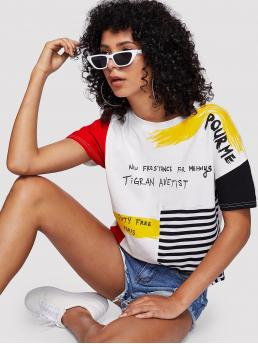 Casual Striped and Slogan Regular Fit Round Neck Short Sleeve Multicolor Regular Length Slogan Graphic Striped Brush Tee