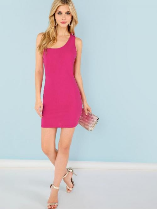 Pink Plain Backless One Shoulder Neon Asymmetrical Shoulder Strappy Back Fitted Dress Discount