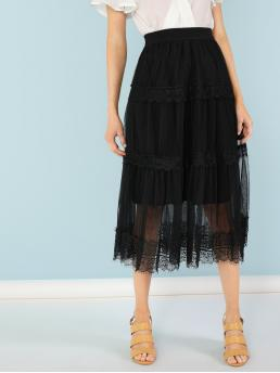 Casual A Line Plain High Waist Black Long/Full Length Chiffon Midi Skirt with Lined Lace with Lining