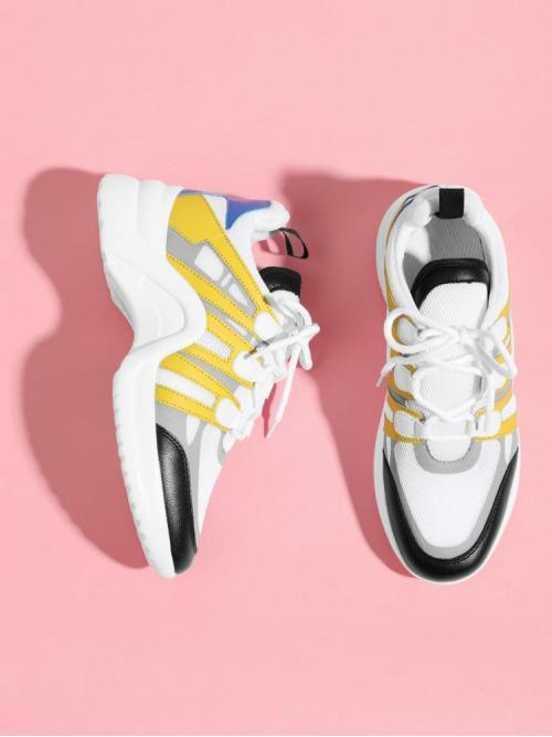 Ladies Corduroy Multicolor Running Shoes Cut out Contrast Pu Panel Sneakers