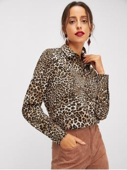 Glamorous Leopard Shirt Regular Fit Collar Long Sleeve Regular Sleeve Placket Multicolor Regular Length Pocket Patched Leopard Print Shirt