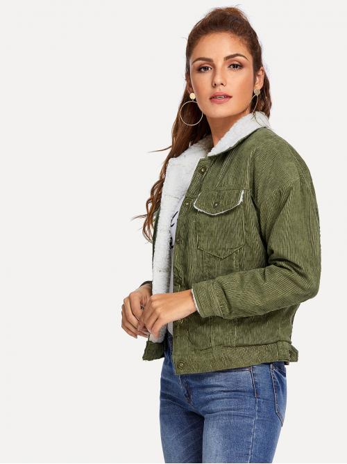 Preppy Plain Regular Fit Collar Long Sleeve Single Breasted Army Green Regular Length Solid Single Breasted Corduroy Jacket