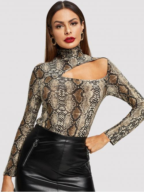 Sexy Snakeskin Print Regular Fit High Neck Long Sleeve Pullovers Multicolor Regular Length Cutout Front Snake Skin Print Fitted Tee