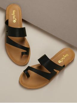Boho Toe Post Black Asymmetric Toe Loop Slide Flat Sandals