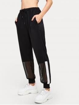 Sporty Sweatpant Regular Mid Waist Black Long Length Contrast Mesh Cut And Sew Pants