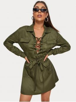 Sexy Shirt Plain Straight Regular Fit Collar Long Sleeve Regular Sleeve Natural Army Green Short Length Lace Up  Front Belted Shirt Dress with Belt