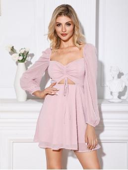 Boho A Line Plain Flared Regular Fit Sweetheart Long Sleeve Bishop Sleeve High Waist Pink and Pastel Short Length Double Crazy Swiss-dot Drawstring Front Peekaboo Dress with Lining