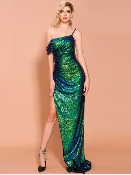 Glamorous and Sexy Bodycon Slit Slim Fit Asymmetrical Neck Sleeveless High Waist Green and Bright Maxi Length Missord Asymmetrical Neck Split Thigh Sequin Prom Dress