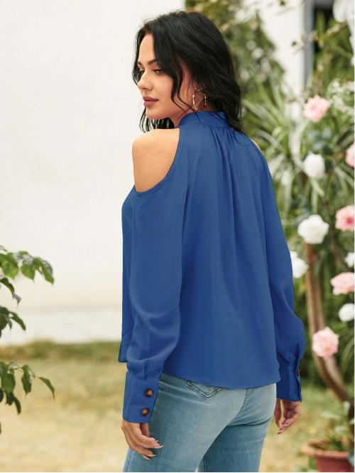 Long Sleeve Shirt Button Front Polyester Blouse Clearance
