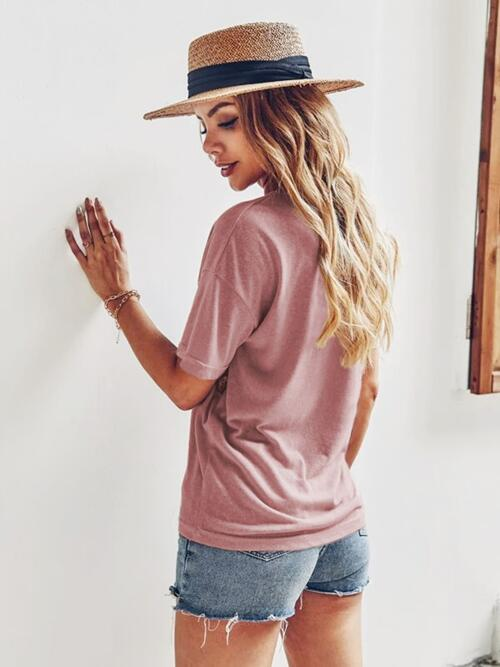 Affordable Short Sleeve Cotton Leopard Dusty Pink Cheetah Panel Tee