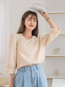 Three Quarter Length Sleeve Shirt Polyester Gingham Blouse Clearance