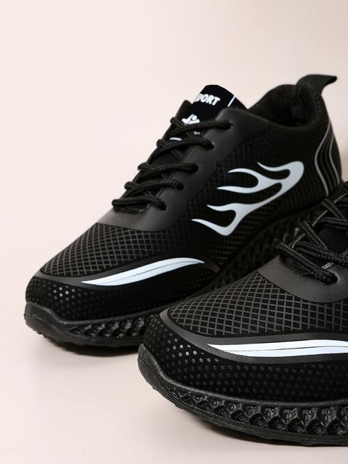 Women's White Pu Leather Rubber Mesh Two Tone Graphic Breathable Running Shoes