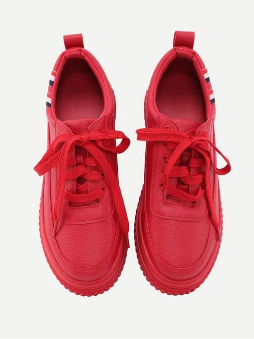Pretty Corduroy Red Skate Shoes Studded Detail Sneakers