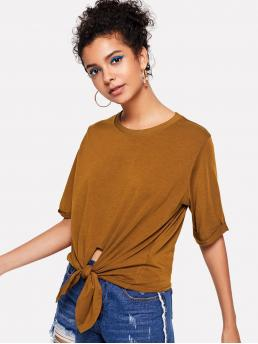 Casual Plain Regular Fit Round Neck Short Sleeve Roll Up Sleeve Yellow Knot Front Cuffed Tee