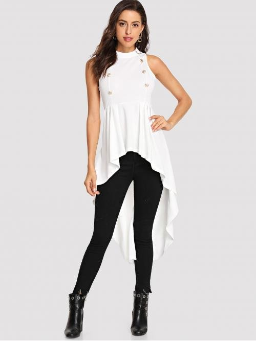 White lace sleeveless high neck long dipped hem top