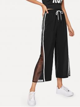 Womens Black Natural Waist Drawstring Wide Leg Sheer Mesh Panel Tape Pants