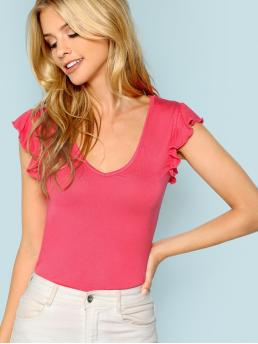 Casual Plain Slim Fit Scoop Neck Sleeveless Pullovers Pink Regular Length Neon Pink Ruffle Trim Fitted T-shirt