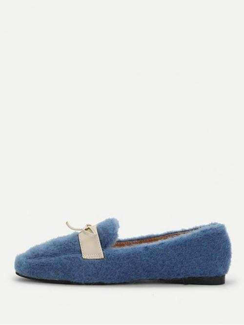 Tweed Blue Tee Bow Contrast Decorated Fuzzy Flats Cheap