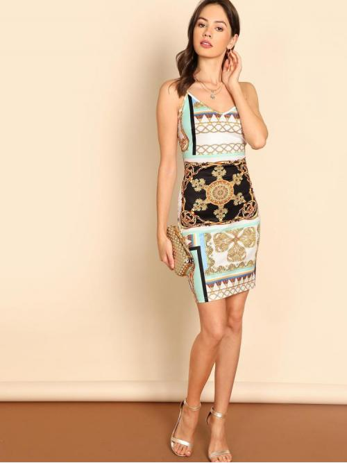 Cheap Multicolor Chain Print Belted Spaghetti Strap Dress