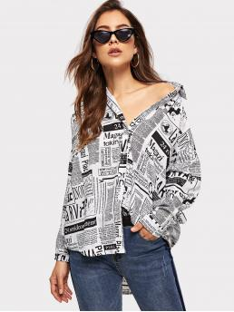 Casual Slogan Shirt Regular Fit Collar Long Sleeve Placket Black and White Regular Length Newspaper Print Curved Hem Shirt