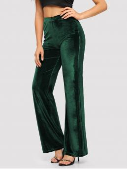 Glamorous Plain Regular Elastic Waist Mid Waist Green Long Length Elastic Waist Solid Velvet Pants