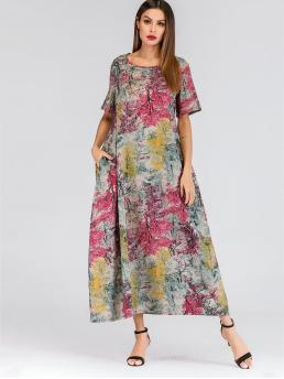 Modest Tunic Landscape Print Straight Loose Round Neck Short Sleeve Regular Sleeve Natural Multicolor Maxi Length Graphic Print Hidden Pocket Longline Dress