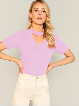 Elegant Plain Slim Fit Keyhole Neckline Short Sleeve Pullovers Purple and Pastel Regular Length Choker Neck Ribbed Fitted Tee