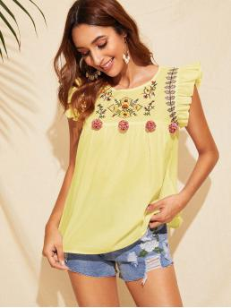 Cute and Boho Top Regular Fit Round Neck Cap Sleeve Butterfly Sleeve Pullovers Yellow and Pastel Regular Length Ruffle Trim Pompom Detail Floral Embroidery Top