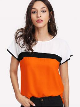 Casual Colorblock Top Regular Fit Round Neck Short Sleeve Pullovers Multicolor and Bright Regular Length Neon Orange Keyhole Back Cut-and-Sew Top