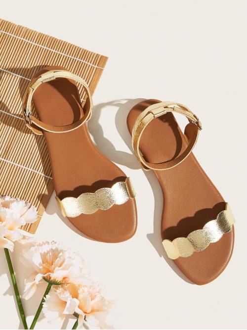 Comfort Open Toe Ankle Strap Multicolor Scalloped Ankle Strap Flat Sandals