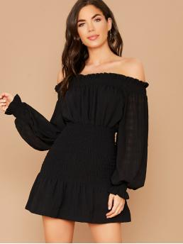 Casual Fitted Plain Regular Fit Off the Shoulder Long Sleeve Bishop Sleeve Natural Black Short Length Off Shoulder Long Sleeve Smocked Waist Mini Dress with Lining