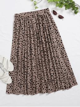 Casual Flared All Over Print High Waist Mocha Brown Long/Full Length All Over Print Elastic Waist Skirt with Lining