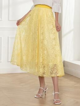 Yellow High Waist Contrast Lace a Line Flared Skirt Shopping