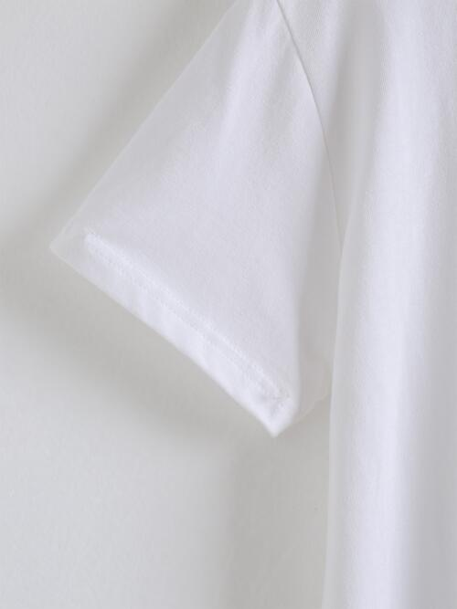 Short Sleeve Cotton Letter White Graphic Tee Beautiful