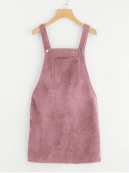 Preppy Pinafore Plain Straight Loose Straps Sleeveless Natural Pink and Pastel Short Length Pocket Front Overall Corduroy Dress