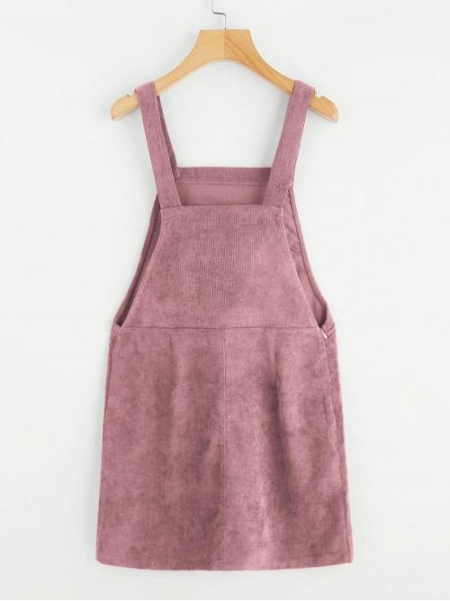 Dusty Pink Plain Zipper Straps Pocket Front Overall Dress Fashion