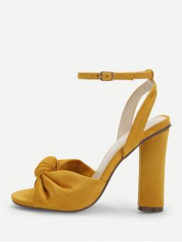 Ankle Strap Open Toe Ankle Strap Yellow High Heel Chunky Knot Design Block Heeled Sandals