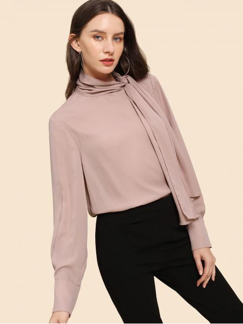 Ladies Long Sleeve Top Button Polyester Tie Necked Shoulder Top