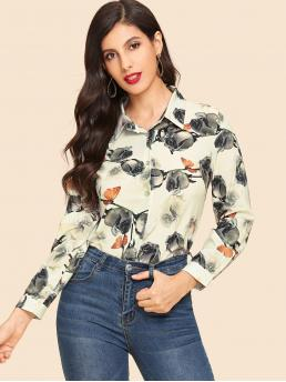 Casual Floral and Animal Shirt Regular Fit Collar Long Sleeve Placket Multicolor Regular Length Rose Print Single Breasted Shirt