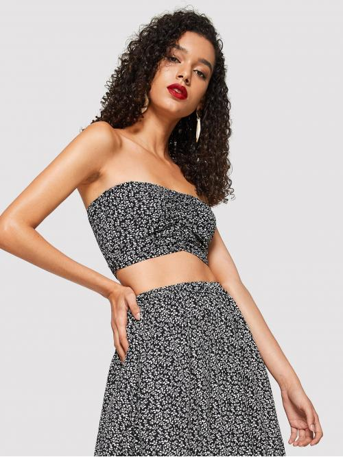 Sleeveless Wide Leg Button Polyester Ruched Front Botanical Bandeau Top Trending now