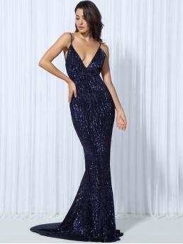 Glamorous and Sexy Cami Plain Mermaid Regular Fit Deep V Neck and Spaghetti Strap Sleeveless High Waist Navy Maxi Length LOVE&LEMONADE Backless Sequin Maxi Slip Dress with Chest Pad with Lining