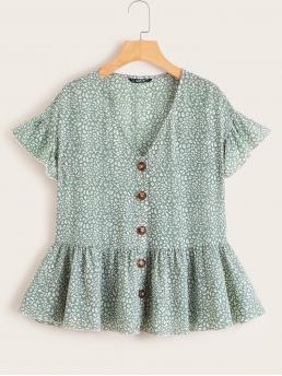 Cute All Over Print Peplum Regular Fit V neck Short Sleeve Flounce Sleeve Placket Green and Pastel Regular Length Allover Print Ruffle Trim Shirt