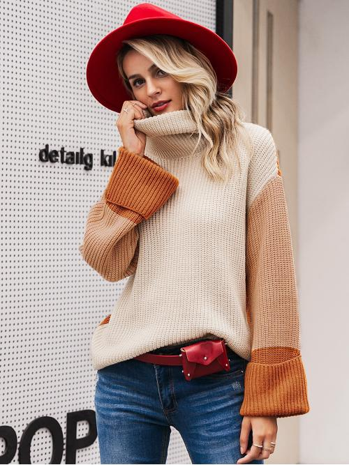 Casual Colorblock Pullovers Regular Fit High Neck Long Sleeve Pullovers Multicolor Regular Length Simplee Colorblock High Neck Drop Shoulder Sweater