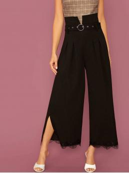 Elegant Plain Wide Leg Regular Drawstring Waist High Waist Black Long Length Notched Waist Belted Split Lace Hem Palazzo Pants with Belt